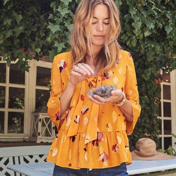 c30b4cb5e6c Sezane Tops   Anita Blouse In Large Saffron Flowers   Poshmark
